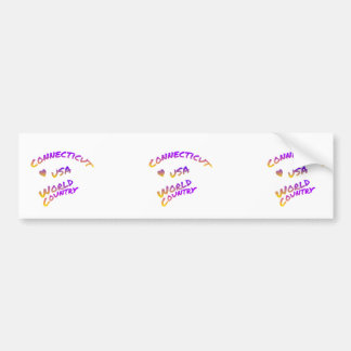 Connecticut usa world country, colorful text art bumper sticker
