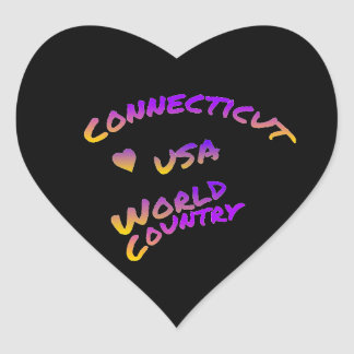 Connecticut usa world country, colorful text art heart sticker