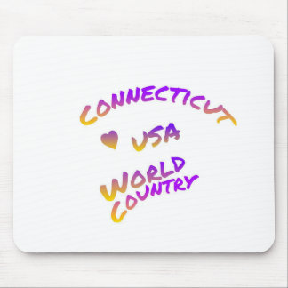 Connecticut usa world country, colorful text art mouse pad