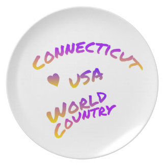 Connecticut usa world country, colorful text art plate