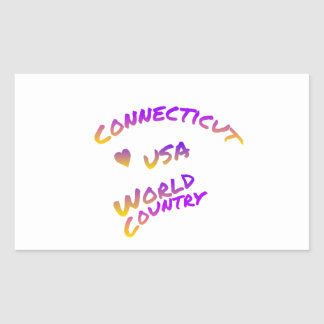 Connecticut usa world country, colorful text art rectangular sticker