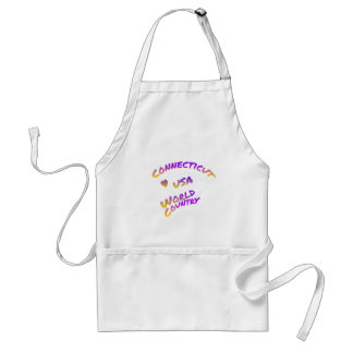 Connecticut usa world country, colorful text art standard apron