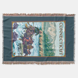 ConnecticutRiver Rafting Scene Throw Blanket