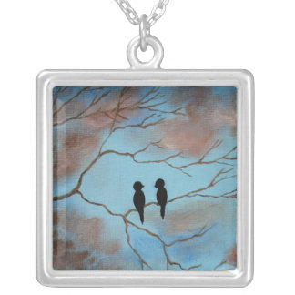 Connections Square Pendant Necklace Painting