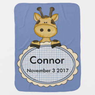 Connor's Personalized Giraffe Baby Blanket