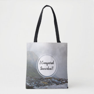 Conquered Snowdon Wales Mountain Stream and Date Tote Bag