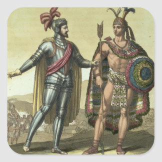 Conquistador with a Native American Chief (colour Square Sticker