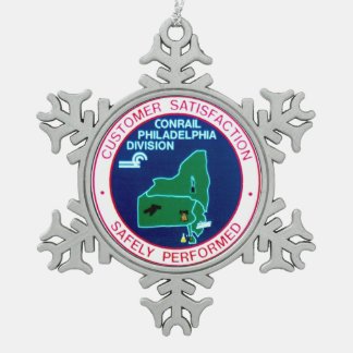 Conrail Railroad Philadelphia Division Snowflake Pewter Christmas Ornament