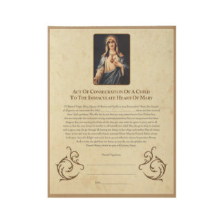 Consecration of Child to Immaculate Heart of Mary Wood Poster