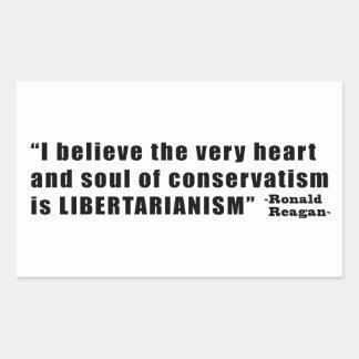 Conservatism Libertarianism Quote by Ronald Reagan Rectangular Sticker