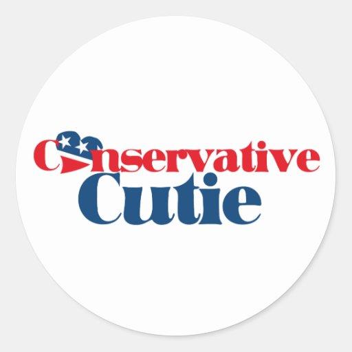 Conservative Cutie Round Sticker