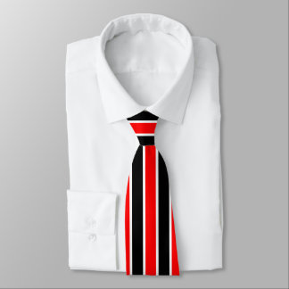 Conservative Red White and Black Stripes Tie