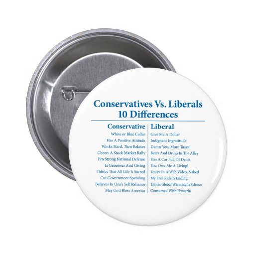 Conservatives Vs. Liberals 10 Differences 6 Cm Round Badge