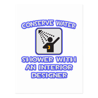 Conserve Water .. Shower With Interior Designer Post Cards