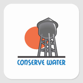 CONSERVE WATER SQUARE STICKER