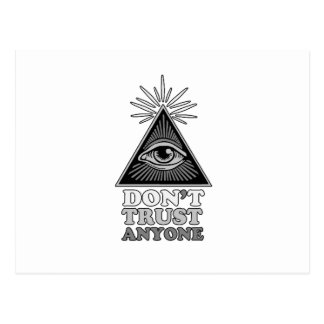 Conspiracy theory postcard