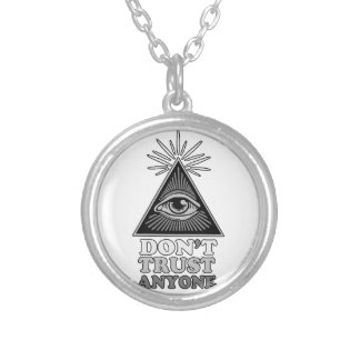 Conspiracy theory silver plated necklace