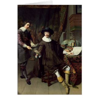 Constantijn Huygens  and his clerk, 1627 Greeting Card