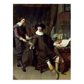 Constantijn Huygens  and his clerk, 1627 Postcard