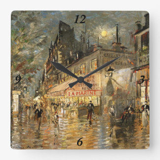 Constantin Korovin: Cafe La Marine, Paris Square Wall Clock
