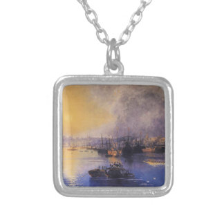 Constantinople Sunset by Ivan Aivazovsky Square Pendant Necklace