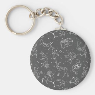 Constellations Night Star Sky Grey / Andrea Lauren Basic Round Button Key Ring