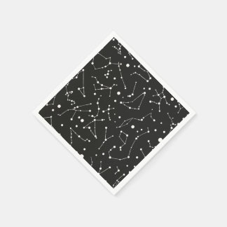 Constellations White and Black Paper Serviettes