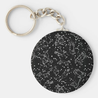 Constellations Zodiac / Black/White /Andrea Lauren Basic Round Button Key Ring