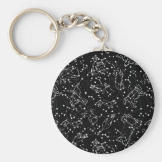 Constellations Zodiac / Black/White /Andrea Lauren Basic Round Button Key Ring