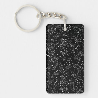 Constellations Zodiac / Black/White /Andrea Lauren Double-Sided Rectangular Acrylic Key Ring