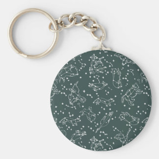 Constellations Zodiac / Grey Green / Andrea Lauren Basic Round Button Key Ring