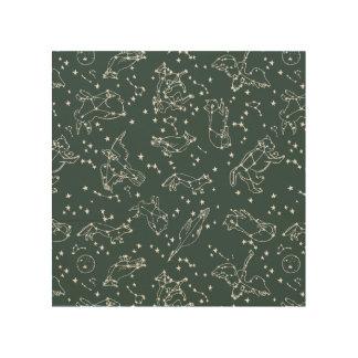 Constellations Zodiac / Grey Green / Andrea Lauren Wood Canvas