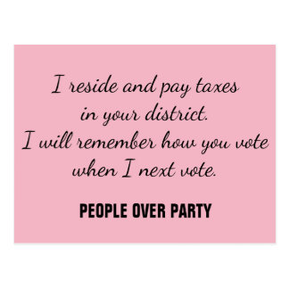 Constituent Resist Remember Vote People over Party Postcard