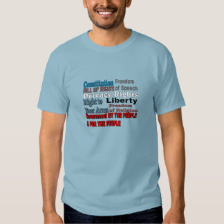 Constitution Bill of Rights Wording T-shirts