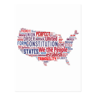Constitution of the United States in Shape of USA Post Cards