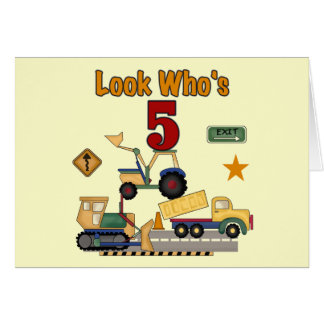 Construction 5th Birthday Tshirts and Gifts Greeting Card