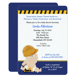 Construction Baby Boy Baby Shower Invite