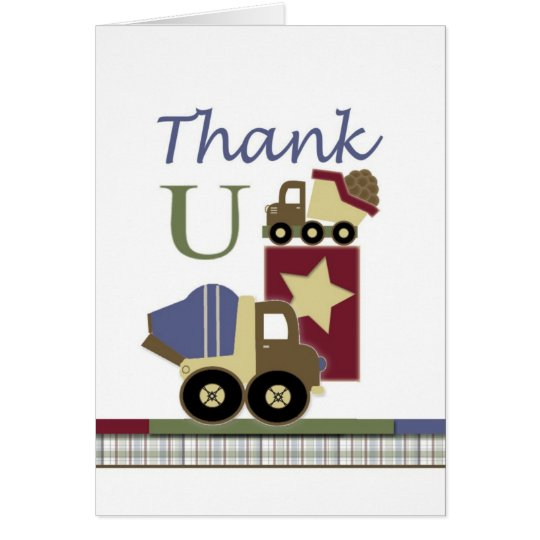 Construction Baby Card Thank You