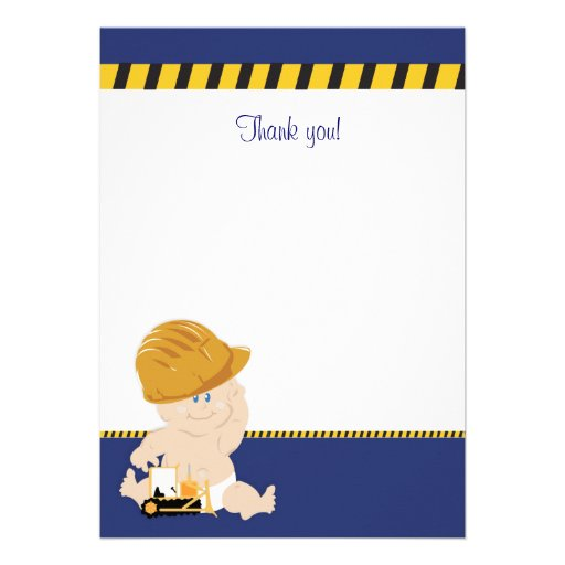 Construction Baby (Navy Blue) Flat Thank You note