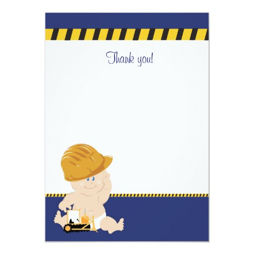 Construction Baby (Navy Blue) Flat Thank You note 13 Cm X 18 Cm Invitation Card