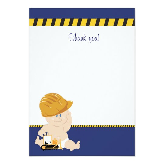 Construction Baby (Navy Blue) Flat Thank You note Card