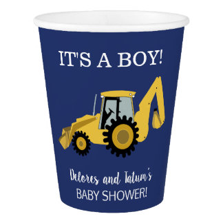 Construction Backhoe Baby Boy Baby Shower Cups