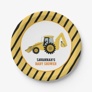 Construction Backhoe Baby Shower Paper Plate