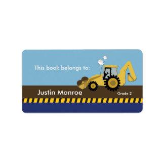 Construction Backhoe Bookplate label Address Label