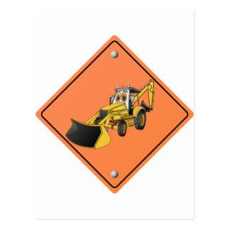 Construction Backhoe Cartoon Sign.png Postcard