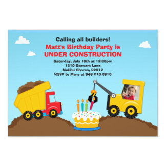 Construction Birthday Party Invitation