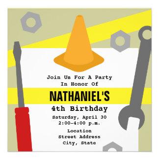 Construction Birthday Party Invite - Tools Cone