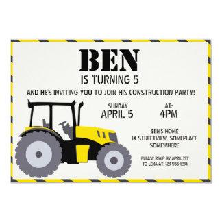 "Construction birthday party tractor yellow gray 5"" x 7"" invitation card"