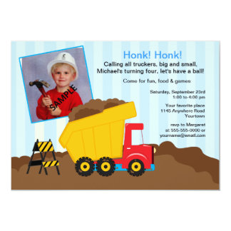 Construction Birthday Party with Photo 13 Cm X 18 Cm Invitation Card