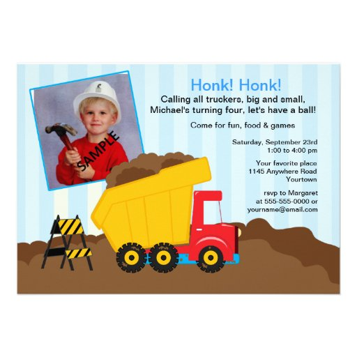Construction Birthday Party with Photo Personalized Invite